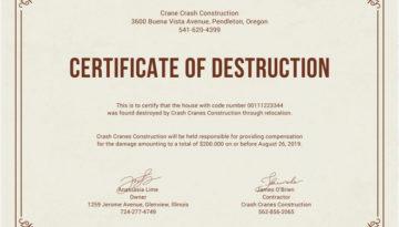 Certyficat of Destruction Rejestracja