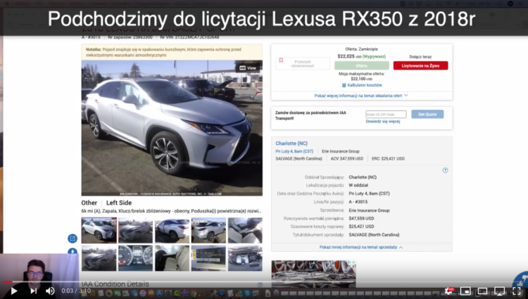 Licytacja LEXUSA RX350 z 2018 roku – Wygrana Aukcja IAAI